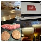 25947702 - まずは「ビール」を。                        コースの「ステーキ」と「ハンバーグ」です。