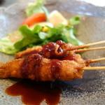 竹庵 - 牛肉巻きフライ&サラダ