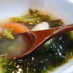 竹庵 - アオサのスープ