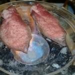 25991971 - 大トロ牛タンの水晶プレート焼き