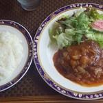 綺羅々亭 - エゾシカ肉のハンバーグ リヨン風