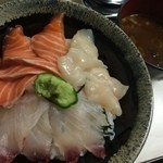26010618 - 三色丼(ホタテ/サーモン/ボラ)