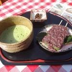 26016393 - よもぎあんこだんご&抹茶(1)