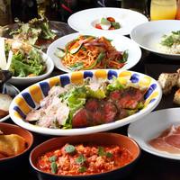 LUNGOFIUME - 大皿のパーティプランはボリューム満点♪薪火でじっくりグリルされた肉料理は香ばし~です!