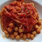 26028678 - 鶏挽肉とひよこ豆のトマトソース スパゲティ