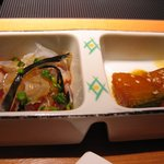 ふく家 - ふぐ尽くしコース☆小鉢2種「ふぐ鉄皮ポン酢かけ」「かぼちゃ煮物」
