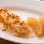 ラ ココリコ - 絶品。温かい海老のムースと、そのクリーム。りんごのアクセント。