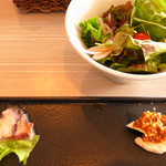恵比寿楽園テーブル - ランチ前菜とサラダ@2014.2