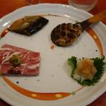 26084229 - 「焼き味噌」「鰊甘露煮」「馬刺し」の三品盛