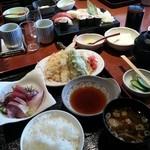26091990 - 刺身&天婦羅定食、にぎり寿司セット。