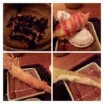 新宿 立吉 - お通しは「ひじきの煮物」串揚げは「天使の海老」「牡蠣」「アスパラ」。