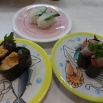 かっぱ寿司 - あんきも、はまち軍艦、えんがわ
