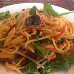 26191702 - 桜海老と春野菜 トマトとチーズのスパゲティ ( かき混ぜた後 )