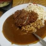 カレーコーナー三原 - カツカレーにスパサラと味噌汁♪揚げたてサクサク♪