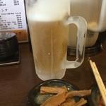 26211791 - 生ビール(中)450円自家製メンマ(小)つき