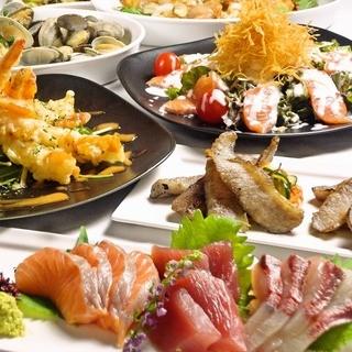 個室で海鮮創作料理40種類の食べ放題!飲み放題2時間つき♪