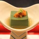なだ万 - 旬菜 (蓬胡麻豆腐 雲丹 山葵)
