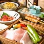 串焼き・魚 新宿宮川 - 旬野菜と豚ロースセイロ蒸しコース4300円(飲み放付/税別)