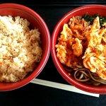 浜のかきあげや - かき揚げそばと炊き込みご飯のセット(2014.4)
