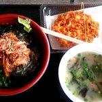 浜のかきあげや - 沖漬け丼・かき揚げ・桜えびの味噌汁のセット(2014.4)