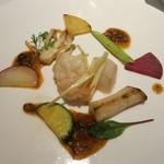 カントニーズ 燕 ケン タカセ - エビとホタテ、季節野菜の炒め オリジナルV X O 醤ソース