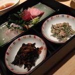 華屋 - 二段御膳 お刺身と天ぷら(1,800円)2014年4月