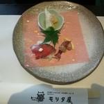 26251202 - 前菜3種(蛍烏賊の酢味噌掛け、自家製ローストビーフ、京都の筍)