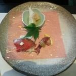26251283 - 前菜3種(蛍烏賊の酢味噌掛け、自家製ローストビーフ、京都の筍)