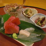 千松しま - 酔っ払い蟹、鯊の肝和え、秋刀魚糠と季節の野菜、塩竃ひがしもの鮪三種、目板鰈。