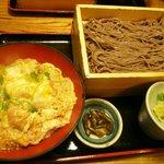 今日亭 - 日替わり(海老カツ丼&そば大盛り)
