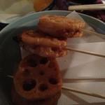 ちょい呑み 福ちゃん - 蓮根挟み揚げ:挟んだミンチも少し味付けが強い
