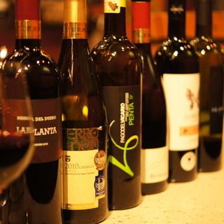 常時10種類以上のスペインのグラスワインをご用意しています。
