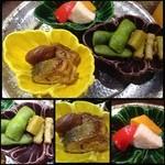 26388386 - ◆「子持ち鮎と栗の渋皮煮」「枝豆と何とか茸」「厚焼き玉子、山芋」・・どれも丁寧に作られていて美味しいですよ。