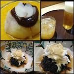 26388395 - ◆最初に「無花果の八丁味噌がけ」・・味噌は少しピリ辛で美味しいですね。                        「ワタリガニと式部草」の酢のもの・・酢が強くなく優しい味わいです。