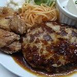 四ツ橋カフェ - とろけるハンバーグ&鶏の唐揚げ