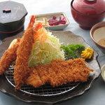こなか - 料理写真:山形直送 米澤豚のロースかつ&エビフライ膳