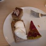 スブニール - シフォンケーキ いちごとピスタチオのケーキ コーヒーのバタークリームケーキ