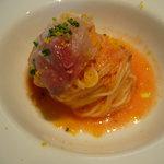 CANOVIANO ANNEX - Primo Pasta;つばすとカラスミの冷製カッペリーニ(フルーツトマトの甘みが旨い♪)
