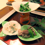 日本料理 桜楽 - <4月夜肉魚>菜の花のごま和え、白和え、ホタルイカの木の芽和え