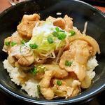 どんぶりブッチャー - 「ぶた塩丼&温麺セット」のぶた塩丼(2014年4月)