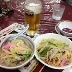 中華園 - ミニちゃんぽん450円とミニ皿うどん450円