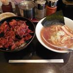 帯広亭 - ...「豚丼(並)+半ラーメンセット(875円)」、丼:タレの味しかしない、ラーメン:普通。小さい。。