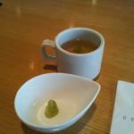26479023 - 付け合せのスープと山葵です