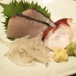 高太郎 - お造り3種盛(寒鰆・根蛸・白魚)