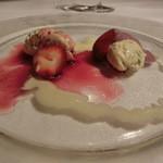 ダ ジュンジーノ - 八島シェフのスペシャリテ フレッシュのピスタチオとマスカルポーネ 赤ワインのソースとアングレーゼ 絶句