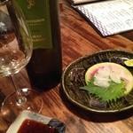 びっきや - アナゴのお造りと白ワイン