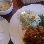 26498377 - 本日のランチ ビーフカツレツ~デミグラスソース~ ライス・サラダ・味噌汁・ドリンク付 870円