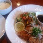 26498381 - 豚ヒレの味噌カツCセット(ライス・スープ)
