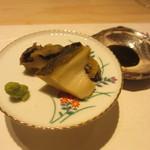 鯛良 - 黒あわび酒蒸し 肝ソース