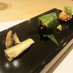 鯛良 - 桜鯛の真子、たこ桜煮、稚鮎塩蒸し